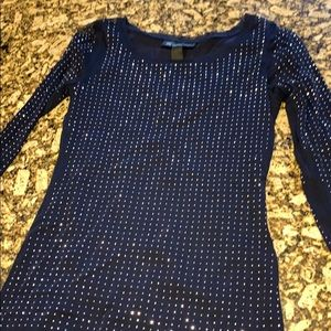 Inc navy studded top size small